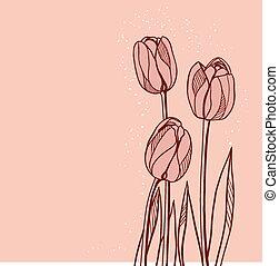 rosa, tulips, astratto, illustrazione, fondo, floreale
