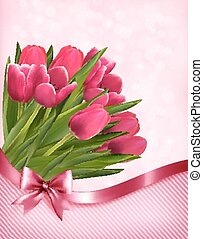 rosa, tulips, bello, vector., fondo.