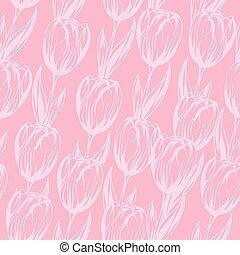 rosa, tulips., modello, seamless, vettore, fondo