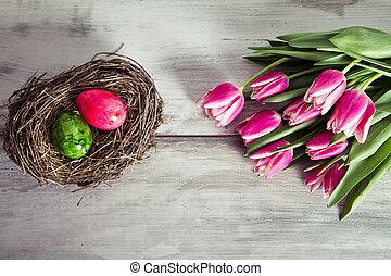 rosa, tulpen, und, eier, in, der, nest