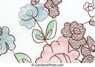 rosa, tyg, vit, blomma, mönster