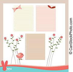 rosa, uccello, fiore, illustration., collezione, message., vettore, vario, carte, pronto, tuo, nastro