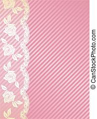 rosa, und, gold, franzoesisch, spitze, hintergrund