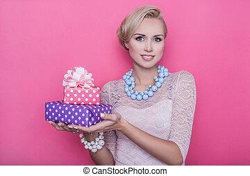 rosa, und, lila, geschenk, boxes., frauen