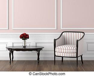 rosa, und, weißes, klassisch, inneneinrichtung