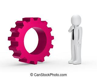 rosa, uomo, ingranaggio, affari, meccanico