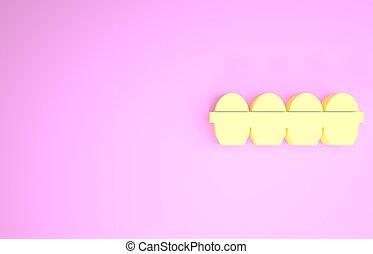 rosa, uovo, isolato, fondo., icona, minimalismo, 3d, illustrazione, render, scatola, giallo, pollo, concept.