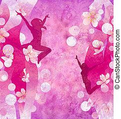 rosa, urbano, grunge, bailando, moderno, tres, plano de fondo, silhuettes, o, rojo, mujeres
