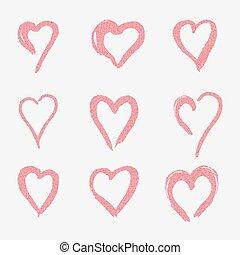 rosa, uso, set, amore, illustration., scarabocchiare, simbolo, emblem., fondo., vettore, disegno, cuori, bianco, elemento, disegno, logotipo, stile