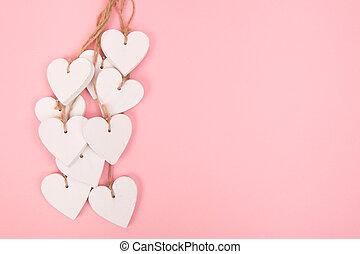 rosa, utrymme, trä, text, bakgrund, hjärtan, vit
