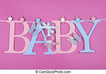rosa, vacío, cartas, azul, guardería infantil, chupete,...