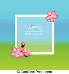 rosa, vacanza, fiore, ciliegia, fondo, fiori primaverili