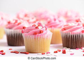 rosa, vacanza, giorno valentine, cupcakes