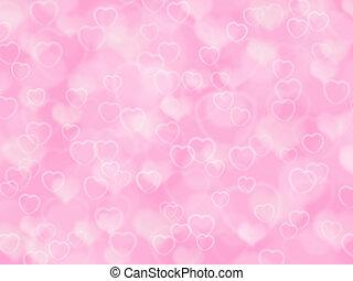 rosa, valentina, fondo, con, boke, e, cuori