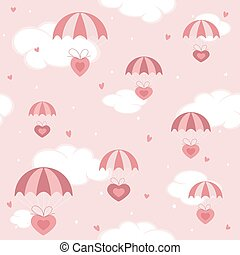 rosa, valentines, cielo, paracadute, fondo, cuori