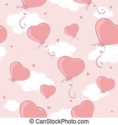 rosa, valentines, cielo, seamless, fondo, cuori