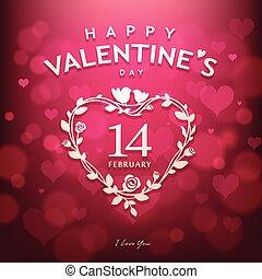 rosa, valentines, design, hintergrund, tag, glücklich