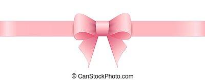 rosa, valentines, schleife, day., hintergrund., weißes