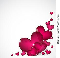 rosa, valentines, vettore, hearts., fondo, giorno