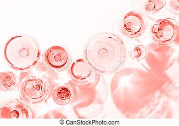 rosa, -, variedad, año, vino, tasting., anteojos, vida, 2019, tema, color, coral, concepto, muchos