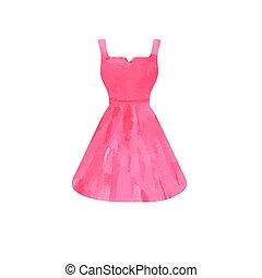 rosa, vattenfärg, lysande, klänning, sketch.