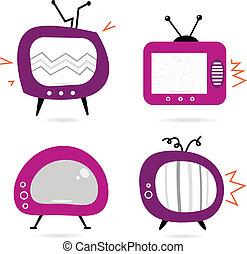 rosa, vecchio, tv, isolato, collezione, retro, bianco