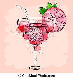 rosa, vector, cóctel, ilustración, mano, toronja, dibujado