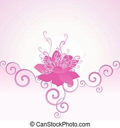 rosa, vector, flor, plano de fondo, romano