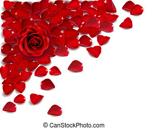 rosa, vector, petals., fondo rojo