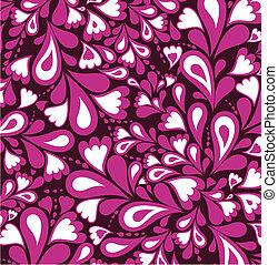 rosa, vektor, heart., mönster, plaska, bakgrund
