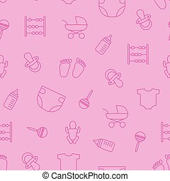 rosa, vektor, mönster, stuff., seamless, objekt, seamles, baby