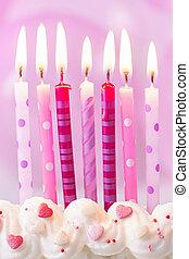 rosa, velas de cumpleaños