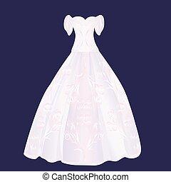 rosa, velloso, vestido, boda