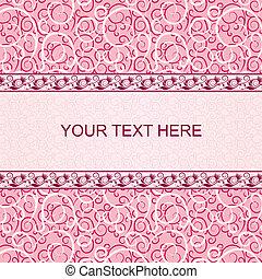 rosa, vendemmia, scheda, con, floreale, ornamento, fondo.