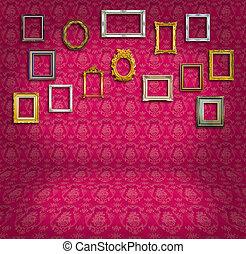 rosa, vendimia, marco, papel pintado, habitación