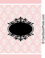 rosa, vendimia, marco, vector, negro