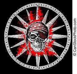 rosa, vento, cranio