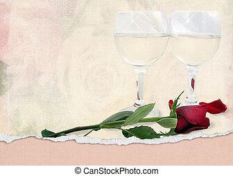 rosa vermelha, com, copos de vinho