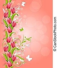 rosa, vertikal, fjäder, flourishes, bakgrund, tulpaner