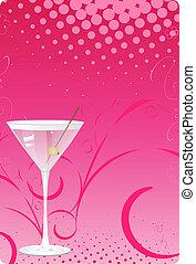 rosa, vetro, martini, indietro, halftone