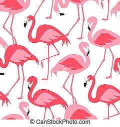 rosa, vettore, fenicotteri, disegno, seamless, modello