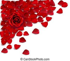 rosa, vettore, petals., sfondo rosso