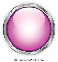 rosa, vidrio, botón