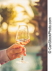 rosa, vidro, rodar, vinho, conceito, tasting.