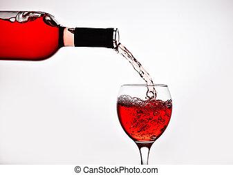 rosa, vierte, vidrio, botella, vino