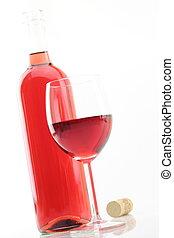 rosa, vino, botella, vidrio