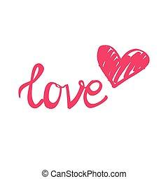 rosa, vit, hjärta, vektor, kärlek, underteckna, isolerat, bakgrund