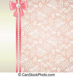 rosa, vit, kort, spets, bakgrund