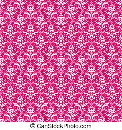 rosa, vit,  &,  seamless, Damast