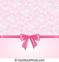 rosa, vit, spets, bakgrund